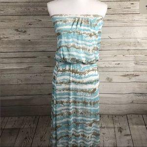 Cynthia Rowley Maxi Dress Small Strapless Sky Blue
